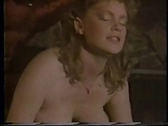 Buffy Davis vintage pool table fuck busty blowjob tittyfuck cum on tits