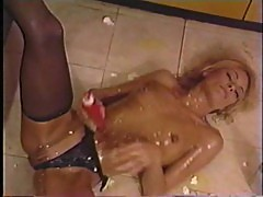 Debi Diamond Wet and Messy on Kitchen Floor