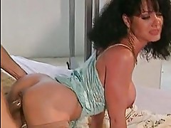 Lusty hot babe Jeanna Fine gets attacked by a huge noodle from behind