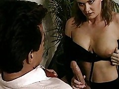 Peter North fucks busty chick on desk