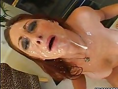 Scorching hot Tiffany Mynx gets an awesome spray of cock sauce on her face