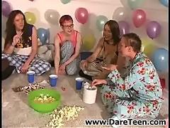 Nasty chicks in pajamas play truth or dare