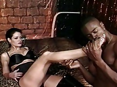 Mistress Jeanna Fine fucks and deepthroats big black cock