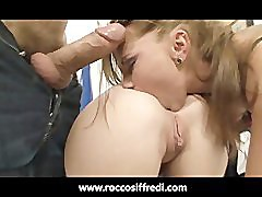 Rocco Siffredi Shoves 4 Dildos Up Her Ass
